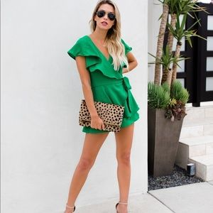 VICI Green With Envy Wrap Romper
